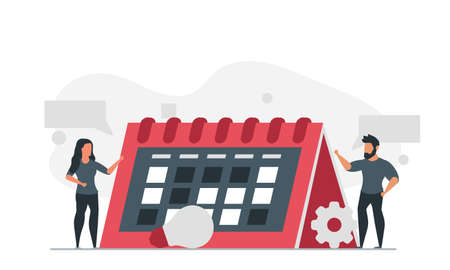 People are planning their calendar for the future. Man and woman are busy scheduling their time vector illustration
