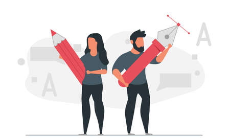 A community of designers from creative people. Woman holding pencil and man holding pen vector illustration