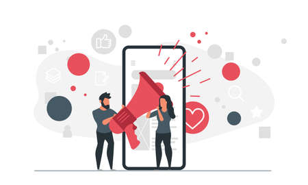 People and Mobile Marketing. A man and a woman with a loudspeaker are standing near a mobile phone. Online product promotion concept vector illustration