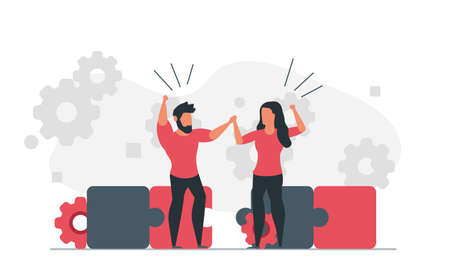 Assemble the puzzle together as a team. People are trying to solve a problem. Man and woman working on solution concept vector illustration Illustration