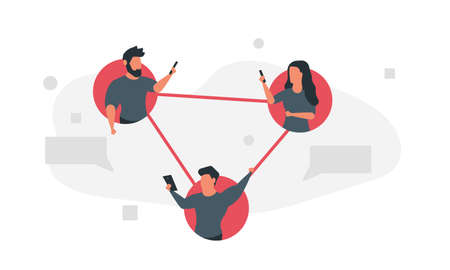 Connected people social network together. Man and woman communicate with gadgets online. Fast and easy communication concept  illustration Illustration