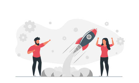 Life of a startup man and woman launch a rocket together. People together develop innovative business product to market concept vector illustration