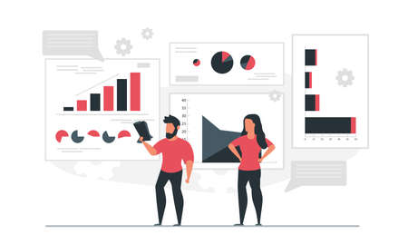 The data inform the man with the notebook and the woman. People analyze graphs and compile statistics. Information report concept  illustration Illustration