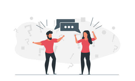 Social discussion of people. A man and a woman argue about different issues. Emotional conversation concept vector illustration