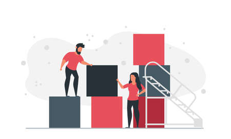 People from the blocks of the cube make a graphic together. Man and woman building business plans company concept vector illustration Vector Illustratie