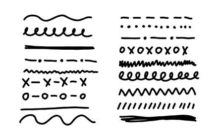 Hand-drawn lines and dividers in various styles. Black-white outline decorative shapes. Set of doodle border lines vector illustration concept