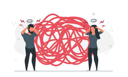 People dont know how to unravel the tangle of problems together. Business problems company desperate situation concept vector illustration Stock Illustratie