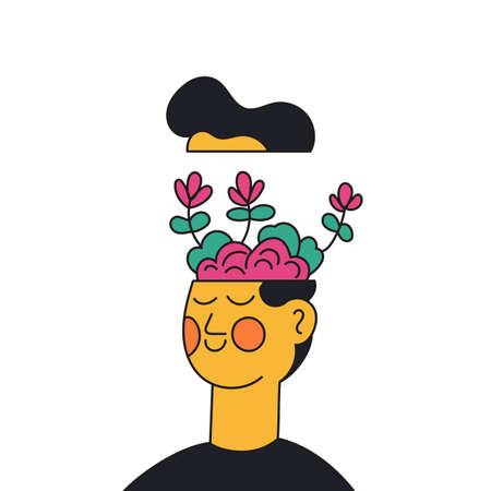 Mental health awareness people concept. Psychological problems of the head and body with mental health. Man with brain and flowers vector illustration Vetores