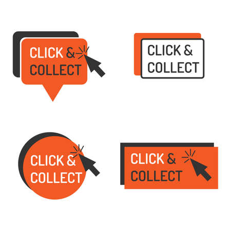Detailed click and collect sign isolated white. Shop store label sign click and collect set with mouse icon. Business commerce service sticker sign vector illustration