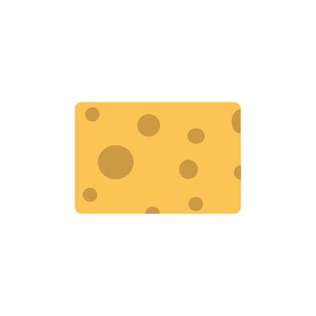 Vector illustration chesse piece design icon isolated whit sign. Simple yellow element square food shape. Health chesse hole parmesan slice good. Natural edam organic Vektoros illusztráció