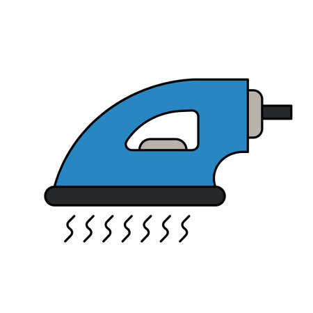 Iron steam appliance laundry housework domestic vector illustration. Home iron steam isolated white hot equipment tool icon. Work device power flat iron. Simple sign drawing icon concept device