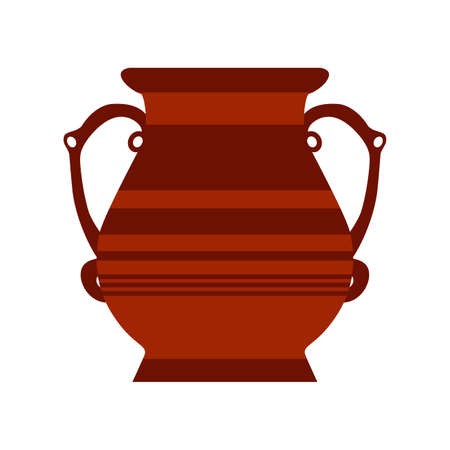 Clay jug ceramic pottery vector antique jar. Isolated clay vase old icon illustration. Brown jug amphora pottery flat object. Cartoon traditional greek vase with pattern symbol. Simple greece sign