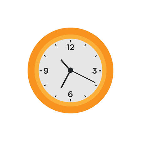Wall clock time circle symbol vector illustration office watch icon with number. Round wall clock with pointer hour minute and second isolated sign. Alarm clockwork shape face measurement with arrow