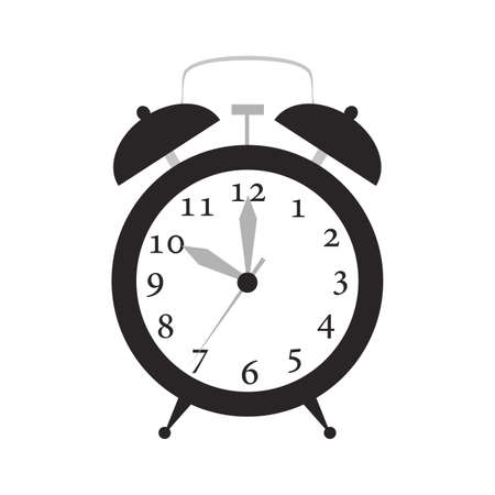Alarm clock time vector illustration timer with bell icon. Retro symbol alarm clock with ring. Isolated vintage reminder alert wake up with number. Clock circle face with pointer analog instrument