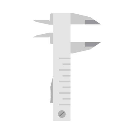 Vernier caliper engineering tool equipment icon. Work metal measurement instrument vernier caliper scale vector illustration sign. Ruler meter isolated white tool. Industrial device engineer icon Иллюстрация