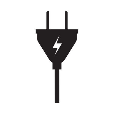 Electric plug vector icon energy power technology illustration sign. Equipment electric plug with cable symbol connection isolated white design. Flat black voltage simple device supply icon charge Векторная Иллюстрация