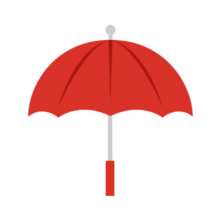 Rain umbrella weather protection vector illustration icon parasol. Handle umbrella black open symbol isolated white object. Accessory protect rain fashion concept icon. Element personal safe Иллюстрация