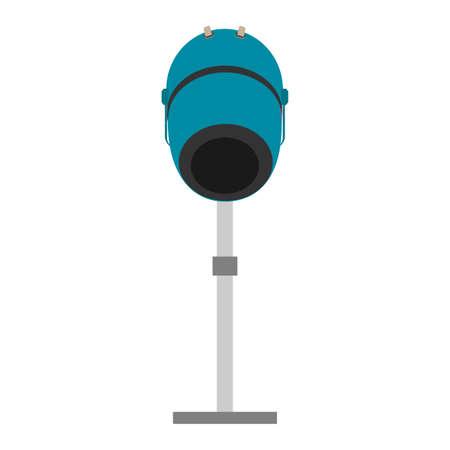 Hair steamer salon spa bowl icon vector illustration. Woman fashion hair steamer cartoon hand machine barbershop design. Hair dryer hot equipment drawing icon isolated white technology salon steam Иллюстрация