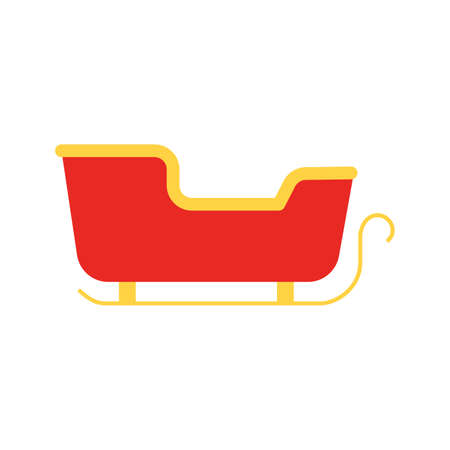 Santa Claus christmas sleigh winter vector illustration cartoon holiday icon. Cartoon sleigh xmas design isolated on white icon. Magic winter sign fantasy illustration sled