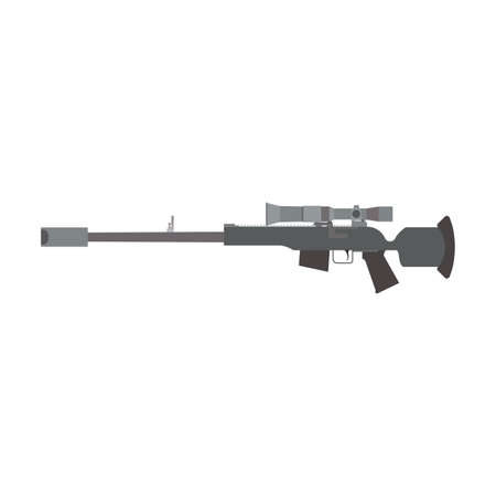 Sniper rifle gun army weapon vector illustration military firearm. Violence trigger sniper rifle assault target war. Automatic handgun police silhouette isolated white. Machine gun ammunition scope
