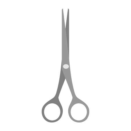 Scissor vector cut tool icon illustration isolated white design. Black symbol paper scissor tool equipment sign. Business object shape template handle cutting accessory stationery icon simple