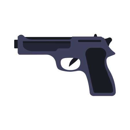 Pistol gun weapon vector illustration black crime handgun. War pistol trigger icon bullet. Isolated danger military army firearm ammunition silhouette symbol. Police arm hand element caliber drawing