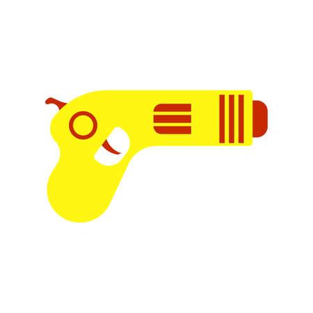 Futuristic gun vector illustration weapon laser. Science fiction futuristic game gun blaster. Handgun pistol alien icon military future. Space ray blast equipment icon fantasy. Lazer machine phaser