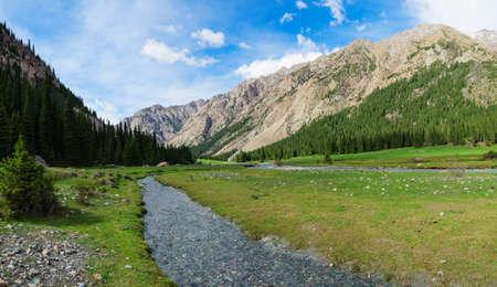 kyrgyzstan: Garganta de la montaña en Kirguistán, región de Issyk-Kul