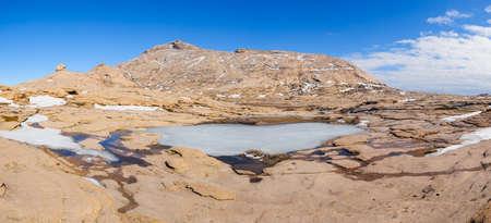ata: Granite eroded mountains Bektau-Ata at spring, Kazakhstan Stock Photo