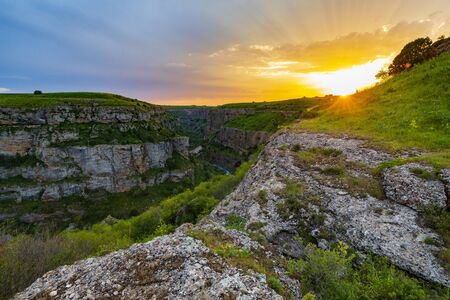 Sunset landscape in Aksu Dzhabagly Nature reserve, South Kazakhstan