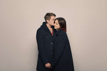 couple winter: Happy young couple in winter clothes Stock Photo