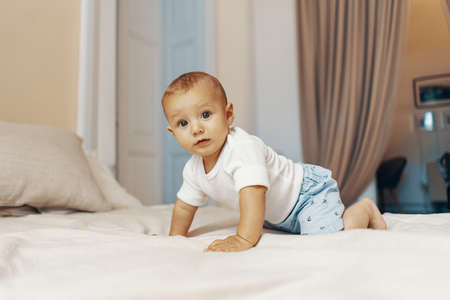 Portrait of a crawling baby on the bed in in the bedroom 스톡 콘텐츠