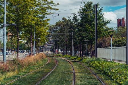 Modern Lyon tram, urban cityscape