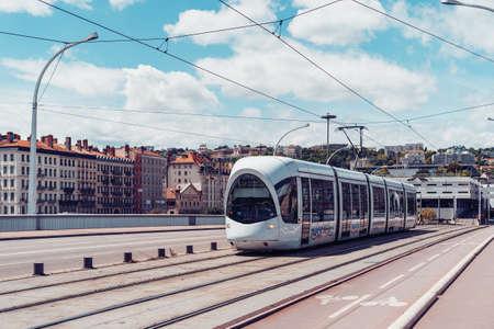Lyon, France - May 10, 2019. Tramway on the bridge, Lyon, France Editorial