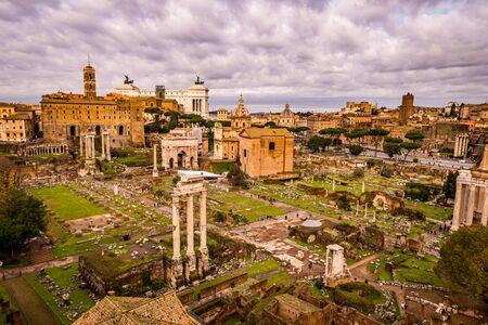 Panoramic view of the Roman Forum, Rome, Italy Stock Photo