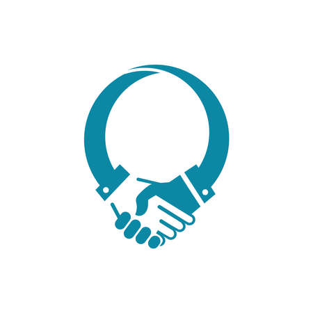 shake hands concept logo icon for deal or humanity