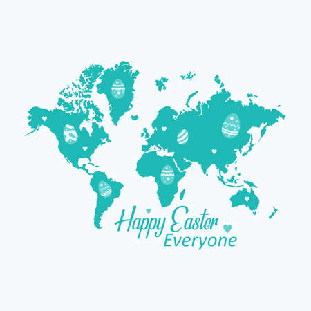 Happy Easter Everyone Greeting with World Map Background Vectores