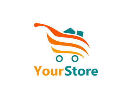 logo design concept with trolley symbols and shopping items. This logo is suitable for supermarket, malls, shops and sales places such as mini markets and others. orange and blue colors to arouse Illustration