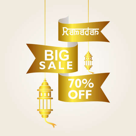 special offer for Ramadan big sale design template. ribbon.  for promotion. with gold color. for banner, poster, flyer, and others
