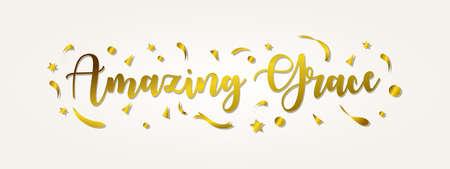 letras de gracia increíbles con color dorado, tipografía para pancarta, póster, tarjeta de felicitación y otros.