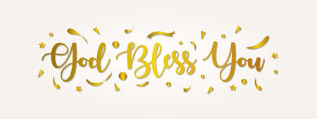 God Bless You lettering with gold color, typography for banner, poster, greeting card and others. Illustration