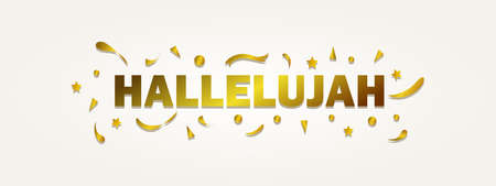 Hallelujah lettering with gold color, typography for banner, poster, greeting card and others