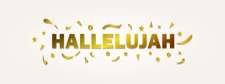 Letras de aleluya con color dorado, tipografía para pancarta, póster, tarjeta de felicitación y otros.