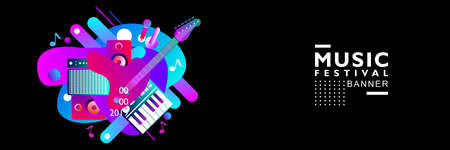 Music Festival Illustration Design Template. for web, banner, poster, publication, billboard and others. Purple, pink, red, orange and blue color. in black background