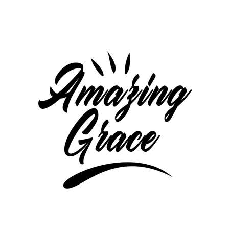 amazing grace lettering. Quotes. vector vintage illustration. isolated on white background 向量圖像