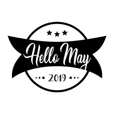 Hello may. greeting vector vintage lettering