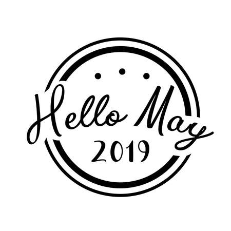 Hello may 2019. greeting vector vintage lettering