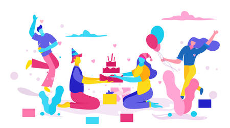 Illustrations of people celebrating birthdays happily. And give a birthday cake. With cartoon character and full color