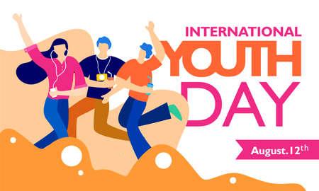 Giornata internazionale della gioventù, 12 agosto. con illustrazione di giovani attivi e appassionati. su forma ondulata e sfondo bianco Vettoriali