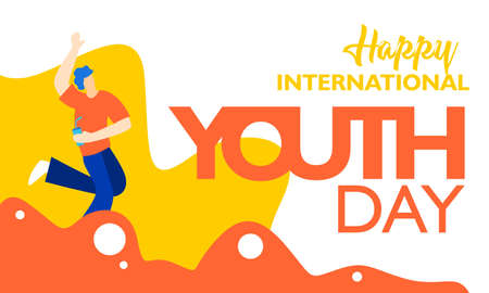 International youth day, August 12 th. with active and passionate young people illustration. on orange wavy shape and white background